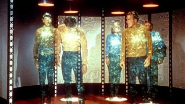 Teleportation as depicted in <em>Star Trek</em>.