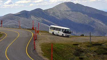 """The view from the top is all part of the service on the Omeo to Bright bus. Driver Rod O'Connell says some of the scenery is """"on a par with anything that you might find on the Great Ocean Road""""."""