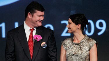James and Erica Packer at the ribbon-cutting ceremony for the City of Dreams casino in Macau.
