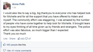 A Facebook post by Michelle Levy's mother, Anne.