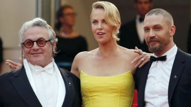 George Miller, Charlize Theron and Tom Hardy on the red carpet at Cannes for the screening of <i>Mad Max: Fury Road</i>.