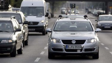 A car of the Autonomos Labs drives controlled by a computer through Berlin, Germany.