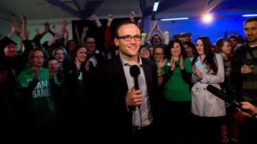 A happy Adam Bandt, who will retain his seat of Melbourne.