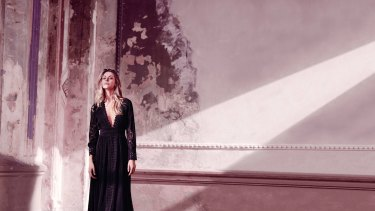Myer ambassador Jennifer Hawkins in a White Suede dress, in the 2016 autumn-winter campaign.