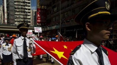 Uniformed youth group members at the pro-government rally.