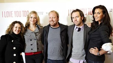 I Love You Too ... Daina Reid (director), Yvonne Strahovski, Peter Helliar (writer and actor), Brendan Cowell and Megan Gale.