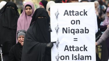 The Muslim community rally against the proposed ban of the Niqab.