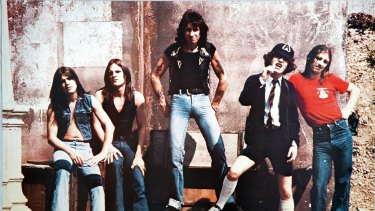 As they were... AC/DC in 1976, with Malcolm Young at far left.