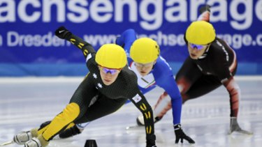 Tatiana Borodulina (L) of Australia skates to win the ladies 500 metre final race at ISU World Cup Short Track event in Dresden, Germany in Feburary last year.