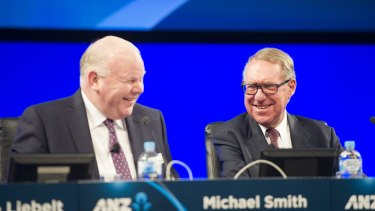 Former ANZ CEO Mike Smith, left, and chairman David Gonski  both advocate for women through the Male Champions of Change group.