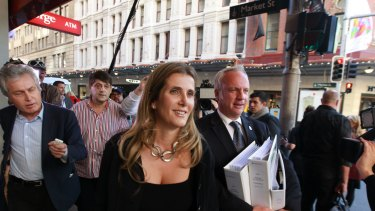 Kathy Jackson leaving the royal commission into union corruption earlier this year.