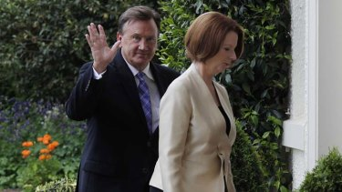 Unfairly questioned: Tim Mathieson and Julia Gillard.