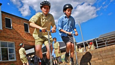 On a Razor's edge … students show their scooter skills at Tudor House.