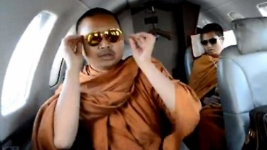 """Most monks are good monks, but there are exceptions"": Wirapol Sukphol during one of his frequent charter flights."