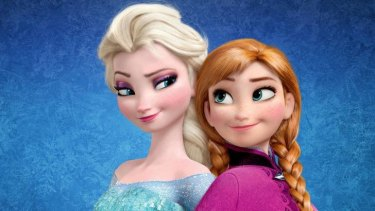Back to back: Elsa and Ana, the sisters from <i>Frozen</i>.
