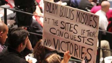 Anti-mosque protesters in New York.