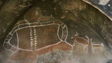 A rock painting of aboriginal spirit Bunjil near Stawell.