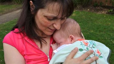 """""""We just wanted a baby"""" . . . Iliana Ilieva, of Sylvania Waters, with her eight-week-old son, Victor, who is an IVF baby."""