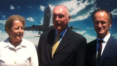 Brisbane Airport Corporation CEO Julieanne Alroe, deputy prime minister Warren Truss and sand dredging manager Yves Bosteels at Brisbane Airport.