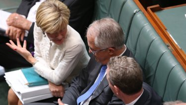 Foreign Affairs Minister Julie Bishop,  Prime Minister Malcolm Turnbull and Innovation Minister Christopher Pyne during question time on Tuesday.