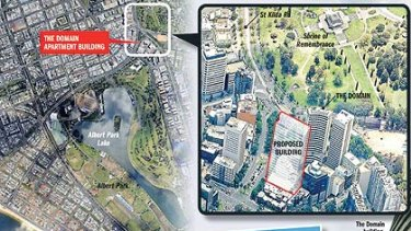 The location of the Domain apartment building is shown at the top left. If built, the proposed building (inset) would have blocked the bayside views from the Domain. Inset below: An artist's impression of the proposed apartment block.