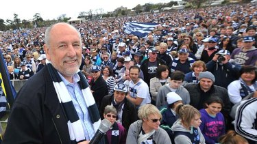 Colin Carter with Geelong supporters yesterday.