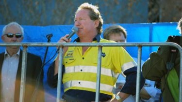 Andrew Forrest addresses the crowd at today's rally in the city.