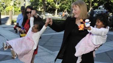 Moira Kelly at a one-year anniversary thanksgiving mass for seperated conjoined twins Trishna and Krishna in 2010.
