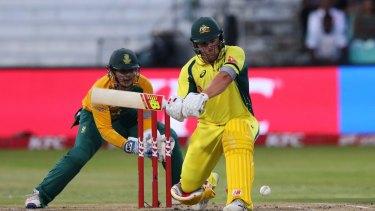 In the swing: Australia's Aaron Finch.