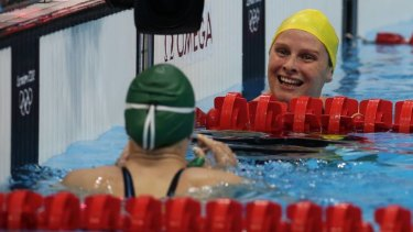 Happy with the result ... Liesel Jones finishes the breaststroke semi final.