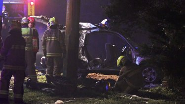 The car crashed into a telegraph pole on Willoughby Road, Wamberal.