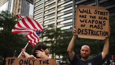 'Occupy Wall Street' demonstrators opposed to corporate profits march in the Financial District of New York.