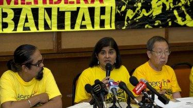Deep divisions: Ambiga Sreenevasan, leader of electoral reform pressure group Bersih 2.0, addresses the media.