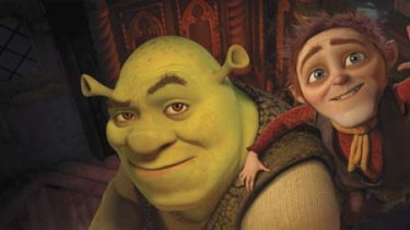 Time out from the dirty nappies ... Shrek makes a pact with Rumpelstiltskin in what has been declared the last instalment in the cartoon series.