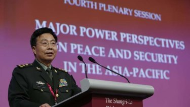 Provocative challenge: Deputy chief of staff of the Chinese Army Lieutenant-General Wang Guanzhong speaks at the Shangri-La Dialogue, in Singapore.