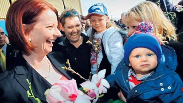 Prime Minister Julia Gillard after voting at Seabrook Primary School in Melbourne's western suburbs.