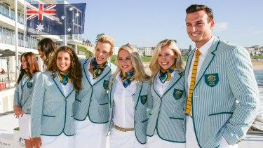 Jessica Fox, Louise Bawden, Kaarle McCulloch, Annette Edmonson and Ed Jenkinsat the Australian Olympic uniform unveiling.