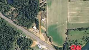 Along the red dirt road ... A Google satellite image of Dykes' property, where a boy is being held in an underground bunker.