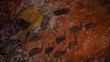 Rock art inside Cave Hill.