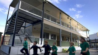 Double-storey portables are being built at Albert Park Primary School.