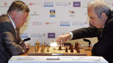 Former chess world champions Garry Kasparov and Anatoly Karpov.