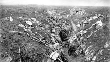 ''God knows that it was hell'': A German trench at Pozieres captured by the Australians in August 1916.