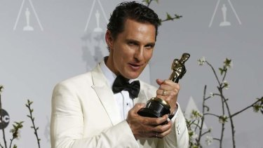 Matthew McConaughey holds his Oscar for Best Actor for the film Dallas Buyers Club.