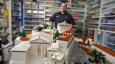 120,000 bricks later: Ryan McNaught in front of his Lego Acropolis.