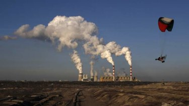 Belchatow coalmine and power station in central Poland, the biggest coal-fired power station in Europe.