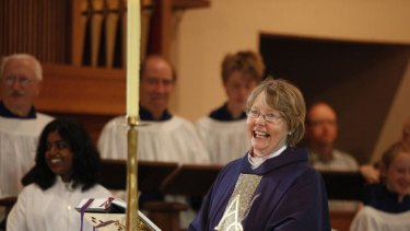 Vicar Susanne Chambers presides over a Sunday service at St Paul's.
