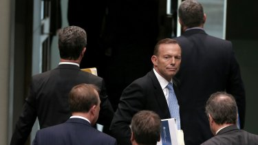 Prime Minister Tony Abbott departs Question Time on Thursday.