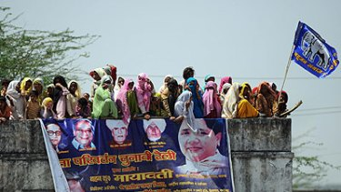 Inspirational ...a rally near New Delhi for Mayawati Kumari in the lead-up to the Indian election.