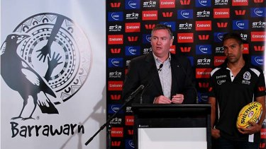 Collingwood president Eddie McGuire and player Andrew Krakouer announce the Barrawarn Project at the Westpac Centre.