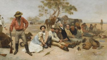<i>Bushrangers, Victoria, Australia</i>, (detail) 1852 1887, oil on canvas; William Strutt (1825-1915). The University of Melbourne Art Collection, Gift of the Russell and Mab Grimwade Bequest 1973. The Ian Potter Museum of Art, The University of Melbourne